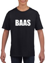Baas tekst t-shirt zwart kinderen M (134-140)