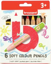 Bruynzeel Kids 6 extra zachte kleurpotloden met slijper