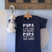 Baby Rompertje tekst eerste Vaderdag cadeau   papa is net zoals een gewone papa maar dan veel cooler   korte mouwen   donker blauw   maat 74-80   mooiste cadeautje kind cadeautje liefste lief leukste mijn is allerbeste verjaardag jarig gefeliciteerd