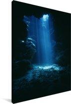 Grot in het helder blauwe water bij Grand Cayman Canvas 90x140 cm - Foto print op Canvas schilderij (Wanddecoratie woonkamer / slaapkamer)