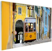 Kleurrijke straten Lissabon Glas 90x60 cm - Foto print op Glas (Plexiglas wanddecoratie)