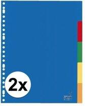 Kunststof tabbladen A4 - 10 stuks - 23 rings/ gaats - gekleurde tabbladen