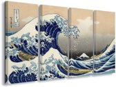 Canvas Print The Great Wave Off Kanagawa, Hokusai|S7 - 4 x 30cm x 80cm|Polyester Canvas 260gsm
