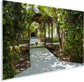Mooie paden in de Majorelletuin in Marokko Plexiglas 180x120 cm - Foto print op Glas (Plexiglas wanddecoratie) XXL / Groot formaat!