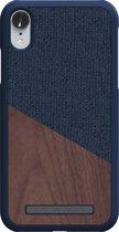 Nordic Elements Frejr backcover voor Apple iPhone XR -  Walnoot hout / donkerblauw textiel