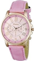 Geneva Roman Horloge - Roze | Romeinse Cijfers | PU Leder | Fashion Favorite