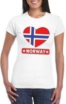 Noorwegen hart vlag t-shirt wit dames M