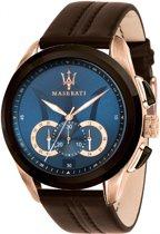 Maserati Traguardo R8871612024 - horloge - chronograaf - leer - rosékleurig - 45mm