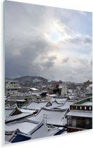 Sneeuw in het Zuid-Koreaanse Gwangju tijdens de ochtend Plexiglas 80x120 cm - Foto print op Glas (Plexiglas wanddecoratie)