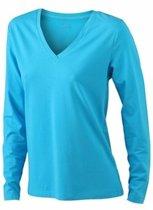 Turquoise dames v-hals shirt lange mouw