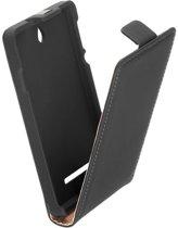 LELYCASE Premium Flip Case Lederen Cover Bescherm Hoesje Sony Xperia E Zwart