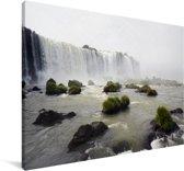 Woeste watervallen dalen neer in de rivieren van het Nationaal park Iguazú Canvas 140x90 cm - Foto print op Canvas schilderij (Wanddecoratie woonkamer / slaapkamer)