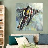 Canvas Schilderij * Peloton Wielrenners * - Kunst aan je Muur - Abstract Modern Grafitti - kleur - 60 x 60 cm