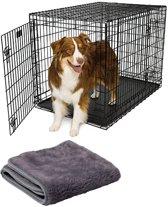 Hondenbench zwart a-kwaliteit 107x71x77cm met gratis bijpassend vetbed
