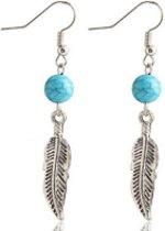 Charme Bijoux® Lange oorbellen- Turquoise met veertje- 5.5 cm
