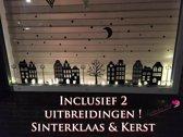 Raamsticker 10 Huisjes - Boom,enz - Grote Raamsticker - inclusief Sint & Kerst uitbreidingen ! - herbruikbaar - raamdecoratie