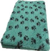 Vetbed Dierenmat Hondendeken Groen met Zwarte Voetprint Latex Anti Slip 100x75cm