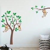 Muursticker boom kinderkamer met aapjes