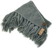 Driehoek sjaal - omslagdoek met franjes - grijs