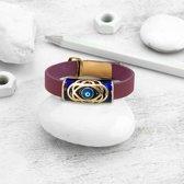 BiggDesign Collection 41 Bad Eye lederen armband   Dames armband   Authentieke sieraden   Echt lederen ontwerp Boze oog armband   Authentiek cadeau   Lengte van de armband 18 cm