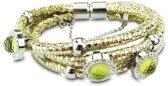 Silventi 980101247 Stalen Armband - Leer - goudkleurig - Wit CZ