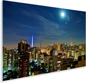 Een volle maan schijnt over de miljoenenstad São Paulo in Brazilië Plexiglas 180x120 cm - Foto print op Glas (Plexiglas wanddecoratie) XXL / Groot formaat!