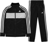 adidas TS TIBERIO Jongens Trainingspak - Top:Black/Grey Two F17/White Bottom:Black/White - Maat 158