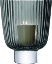 L.S.A. Pleat Windlicht - Glas - 21,5 cm - Grijs