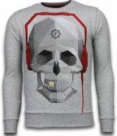 Local Fanatic Skull Beat - Rhinestone Sweater - Grijs - Maten: M