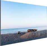 Boot op het strand Aluminium 90x60 cm - Foto print op Aluminium (metaal wanddecoratie)