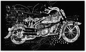 Canvas Schilderij Motor Zwart Wit