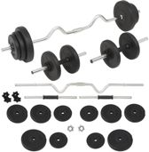 Halterset 30kg  - Dumbbell Set - Gewichtheffen set - Dumbells - Barbell Stang - Halterstang
