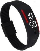 LED Horloge -  Tieners - Horloge - Rubber - 20 mm – Zwart/ Rood – I-deLuxe verpakking (9-10 jr)