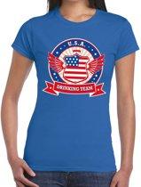 Blauw USA drinking team t-shirt dames XL