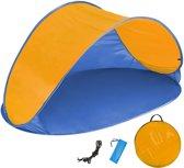 Pop up strandtent beach shelter blauw-oranje 401681