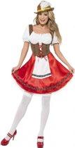 Tiroler jurkje in rood/bruin | Oktoberfest dirndl maat L (44-46)