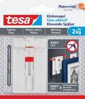 10x Tesa 77777 Klevende Spijker voor Behang en Pleisterwerk , verstelbaar, draagvermogen 2 kg, blister a 2 stuks