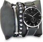 Kaliber 7KA SET001 Horloge Set met Armbanden - Leren Band - Ø 40 mm - Zwart / Zilverkleurig