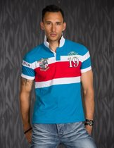 Polo Shirt met Contrast Strepen Blauw / Rood