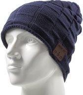 GadgetBay Bluetooth muziekmuts knitted blauw music hat