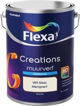 Flexa Creations - Muurverf Zijde Mat - Mengkleuren Collectie - Wit Sisal  - 5 liter