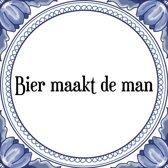 Tegeltje met Spreuk (Tegeltjeswijsheid): Bier maakt de man + Kado verpakking & Plakhanger