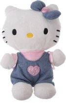Hello Kitty Knuffel Bean Bag Meisjes Jeans Blauw 15cm