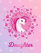 Daughter: Unicorn Large Blank Primary Sketchbook Paper - Pink Purple Magical Horse Personalized Letter D Initial Custom First Na