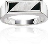Classics&More - Zilveren Ring - Maat 68 - Rechthoek Met Onix