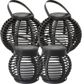 4x Solar Lantaarn Basket Medium, Rotanlook op zonne energie