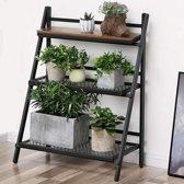 Plantenrek in Hout en Metaal - Opklapbaar Vintage Rek voor Bloemen en Planten - 3 Schappen - 70 cm breed - Zwart/Bruin