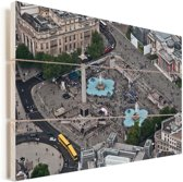 Luchtfoto van het Trafalgar Square in Londen Vurenhout met planken 60x40 cm - Foto print op Hout (Wanddecoratie)