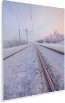 Spoorweg tijdens de winter in het Europese Zweden Plexiglas 120x180 cm - Foto print op Glas (Plexiglas wanddecoratie) XXL / Groot formaat!
