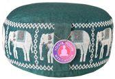Meditatiekussen groen olifanten opdruk (33x16cm)